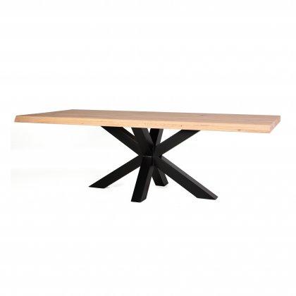Huis Maison Bogaert Table tronc d'arbre avec pied croisé métal- 200x100