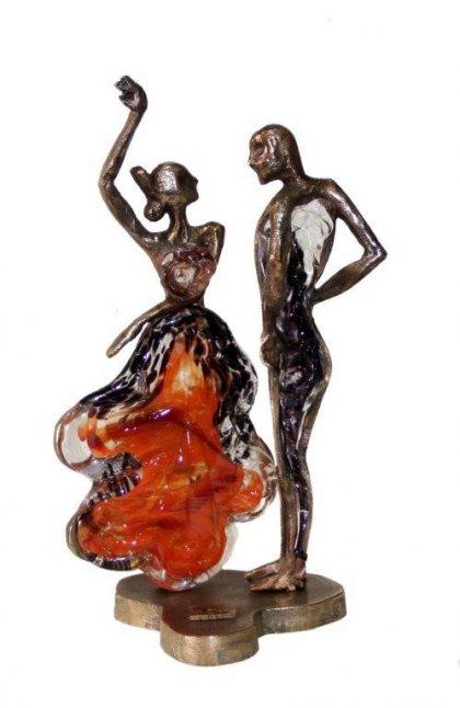 Huis Maison Bogaert Couple en bronze & pâte de verre