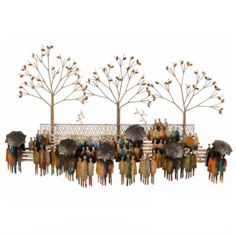 Metalen muurdecoratie - personnages met paraplu