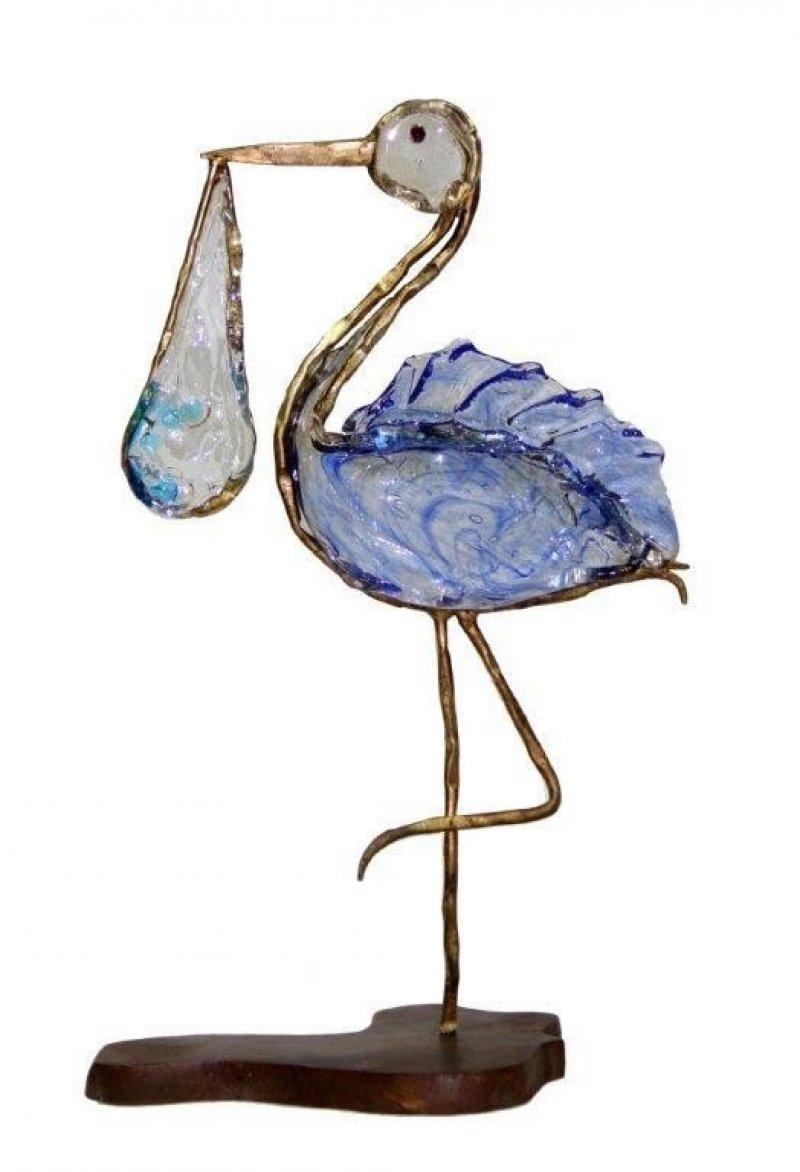 Ooievaar in brons & glaspasta
