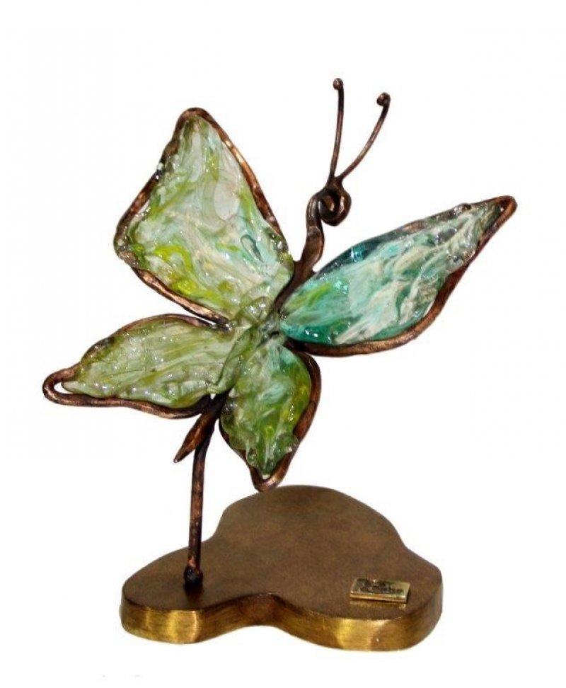VLINDER in brons & glaspasta